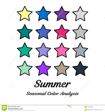 Seasonal Color Chart Seasonal Color Analysis Palette For Summer Type Type Of
