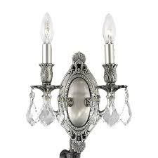 elegant lighting rosalia 9 in w 2 light pewter crystal accent candle wall sconce