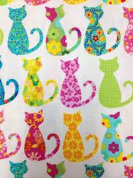 Cat Kitten Groovy Kitty Cat Silhouette Print Cotton Fabric Quilt ... & Cat Kitten Groovy Kitty Cat Silhouette Print Cotton Fabric Quilt Fabric  CR517 Adamdwight.com