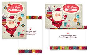 Retro Santa Greeting Card Template Design