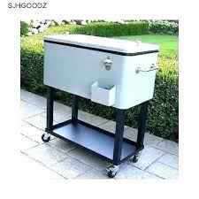 stainless steel outdoor coolers patio cooler rolling cart wood portimao n