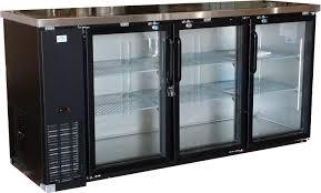 alamo 19 6cf 3 door back bar glass display beer bottle cooler
