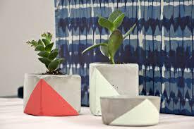 diy geometric cement plant pots