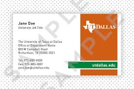 Office Visiting Card Printing Services Brand Standards The University Of Texas At Dallas