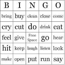 What Are Action Verbs List Action Verbs Bingo Cards
