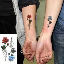 Vodotěsný Dočasné Tetování Samolepky červená Modrá Růže Falešné