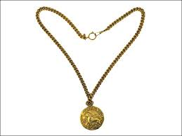 chanel chanel vintage lion pendant necklace gold lady s long necklace lion
