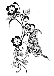 Flower And Butterfly Stencil Designs Flowers Butterfly Tattoo Stencil