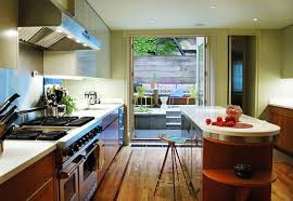 ultra modern french country galley kitchen design with white island