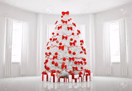 Christmas tree with red decorations in the white room interior 3d render  Stock Photo - 8219958