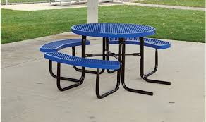blue supersaver commercial round picnic tables wheelchair accessible