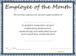 interesting certificate template example for employee of the month thogati