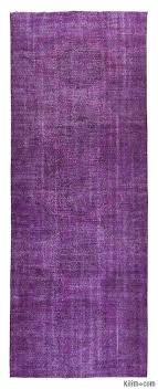 purple over dyed turkish vintage runner rug 4 7 x 12 6 55 in x 150 in