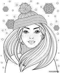 young beautiful with long hair in knitted hat tattoo or antistress coloring page