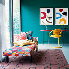 bright coloured furniture. Teal Living Room With Multicoloured Day Bed And Study Area Yellow Chair Bright Coloured Furniture I