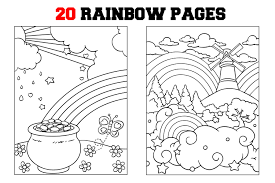 Rainbow with sun, windmills and hot air balloon. Rainbow Coloring Pages 844521 Illustrations Design Bundles