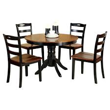 johnstown contemporary style design round antique oak and black finish wood dining table set