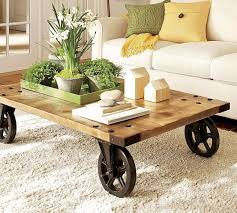 rustic coffee table with wheels