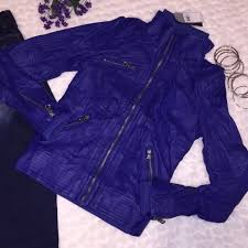 nwt authentic guess fiji faux leather quilted jacket er bright blue 108
