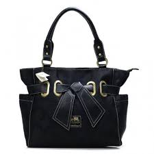 Coach Poppy Bowknot Signature Medium Black Totes k2857