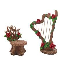 furniture fairy. Miniature Rose Harp And Chair Furniture Set For A Fairy Garden