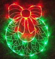 Outdoor Lighted Wreath Impressive CHRISTMAS LED OUTDOOR LIGHTED DOOR WREATH BOW SIGN WINDOW YARD LIGHT