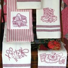 picture of the redwork kitchen tea towels hand embroidery
