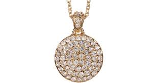 lyst nadri 18k yellow gold plated pave crystal mini disc pendant necklace in metallic