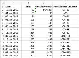 Calculate A Running Total Of A Column Of Cells In Excel