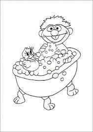 Ernie In Het Bad Kleurplaat Jouwkleurplaten