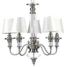 bay gala 5 light polished nickel chandelier w ivory shades new chain bay gala 5 light polished nickel chandelier w ivory shades new chain