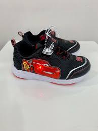 Lightning Mcqueen Light Up Sneakers Disney Cars Shoes Toddler Size 10 Black Lightning Mcqueen Light Up Velcro Shoe