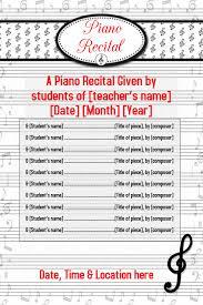 Concert Invite Template Piano Recital Music Concert Flyer Poster Invitation Template