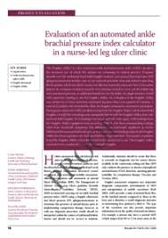 Abpi Calculation Chart Evaluation Of An Automated Ankle Brachial Pressure Index