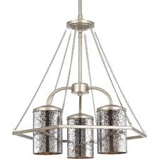 mirrored lighting. Progress Lighting Indi Collection 3-Light Silver Ridge Chandelier With Antique Mirrored Glass