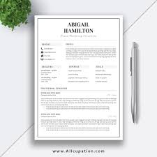 Black And White Resume Template 2 Pages Word Resume Cv Template Cv Layout Cover Letter Simple Resume Design Instant Download Abigail