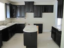 Espresso Painted Cabinets Espresso And White Kitchen Cabinets With Glass Counter Backsplash