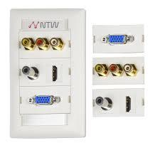 ntw customizable unimedia wall plate and id tag hdmi vga 3 5 mm audio