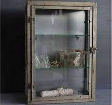 rustic metal wall cabinet with glass
