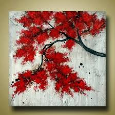 red tree painting red tree branch original textured painting tree art red leaves large square painting