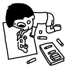 絵を描く子どものイラスト 白黒ヤギさん フリー素材イラスト