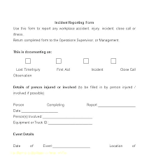 Workplace Injury Report Template