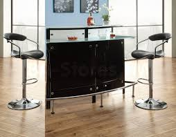 Contemporary Pub Table Set Gorgeous Modern Glass Bar Table For Home Design With Black Leather Stools On Wooden Floor With Black Storage With Floor To Ceiling Glass Windowjpg