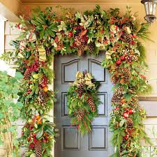 Decorations. Festal Christmas Entrance Door Decoration Feature Lush Floral  Garland With Red Color Accent And