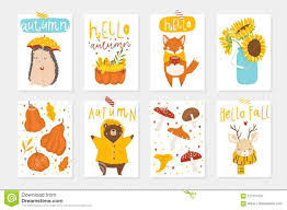 Set Of 8 Cute Autumn Postcards With Animals Stock Vector