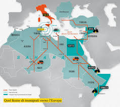 Migration Flows To Lampedusa Infographic Lampedusa Africa Map