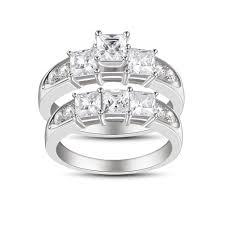 princess cut white sapphire women s 925 sterling silver bridal sets joancee jewelry
