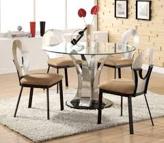 stylish gl and steel round dining table
