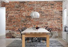 stylish and peaceful brick wall decor interior design ideas old for dining room with wooden table