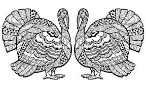 a double zentangled turkey to color for the thanksgiving day